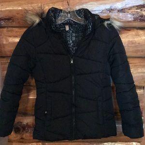 Girls hooded puffer coat black with fur trim hood